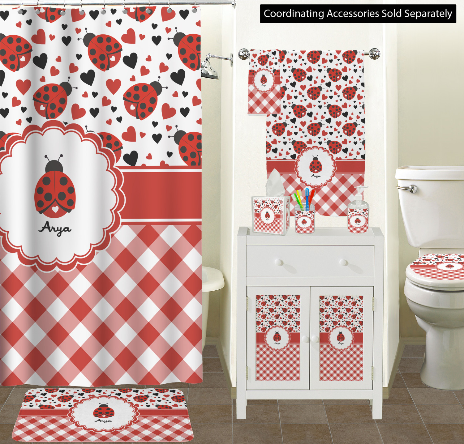 Curtain Makers Brisbane Ladybug Shower Curtain And Accessories Curtain