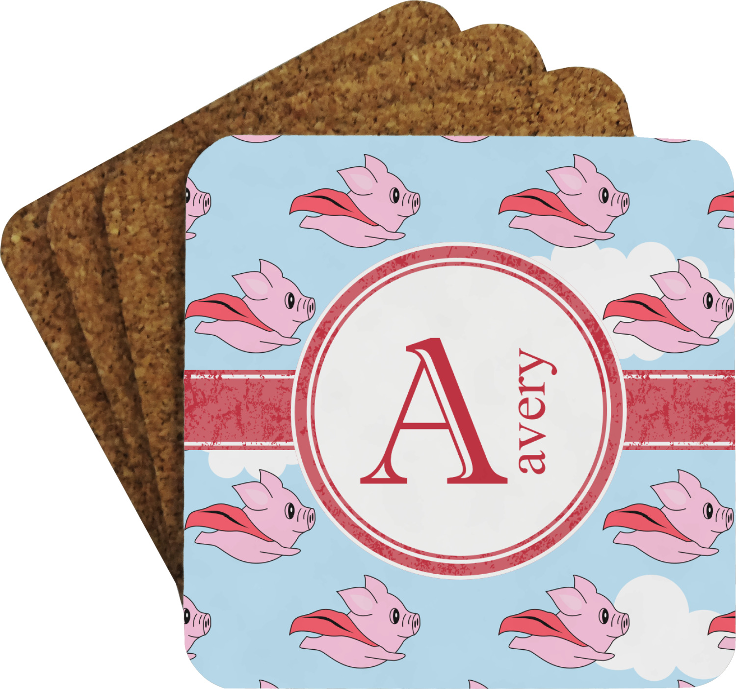 Pig Coasters Flying Pigs Coaster Set Personalized Youcustomizeit