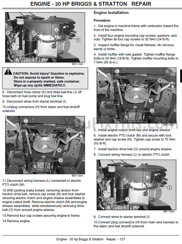 John Deere L100 L110 L120 L130 Repair Manual Lawn  Garden Tractor