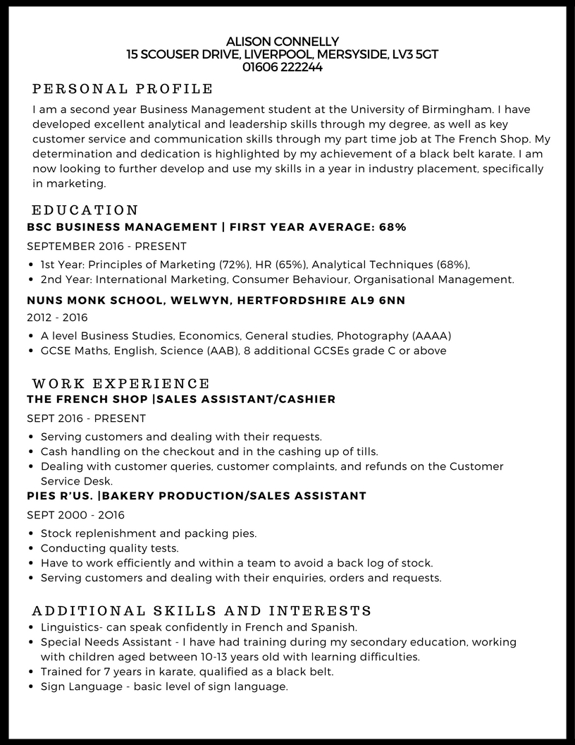 example of cv for a work placement in aesthetics