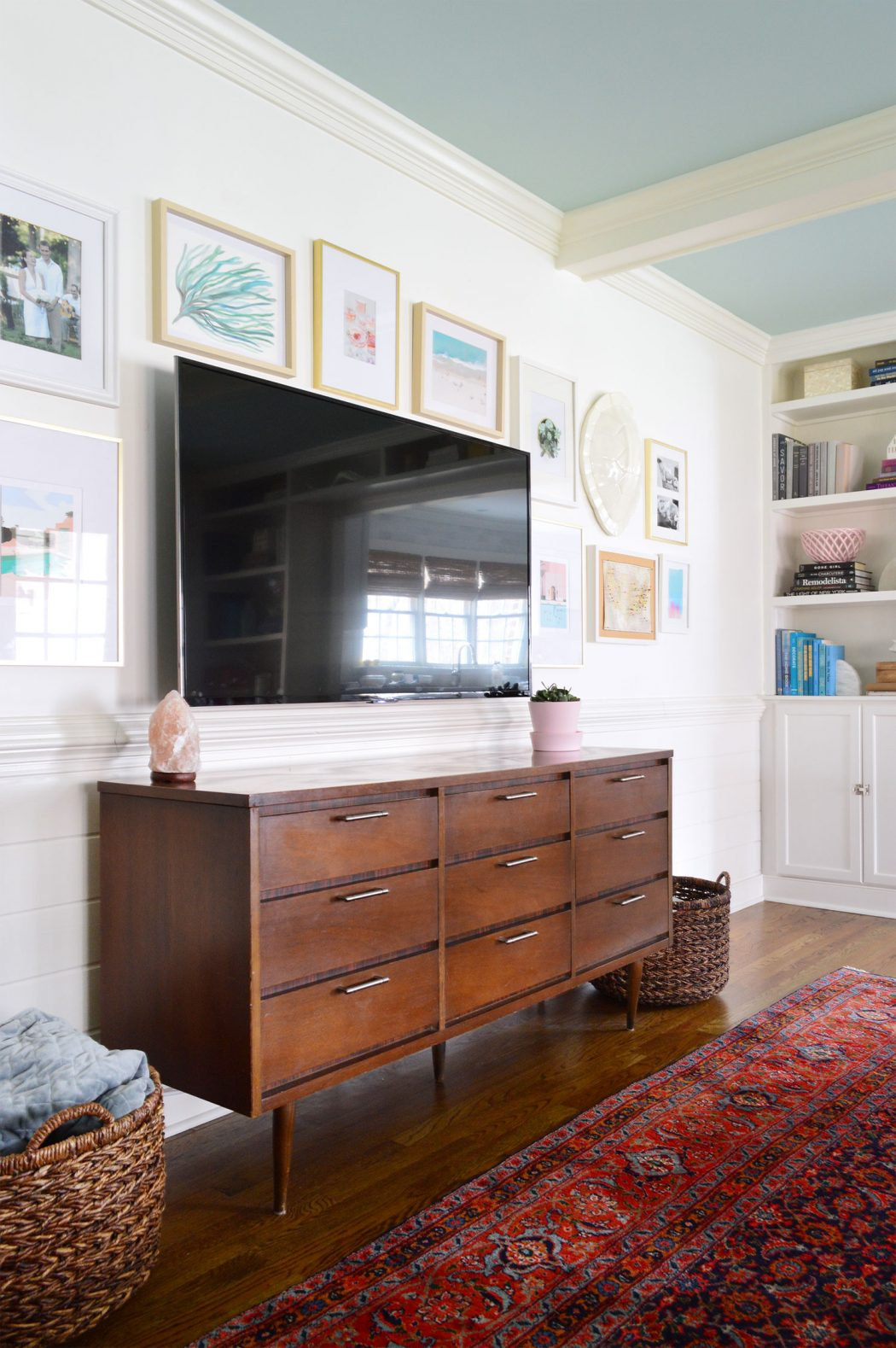 Wood Wall Behind Tv How To Make A Gallery Wall Around A Tv Young House Love