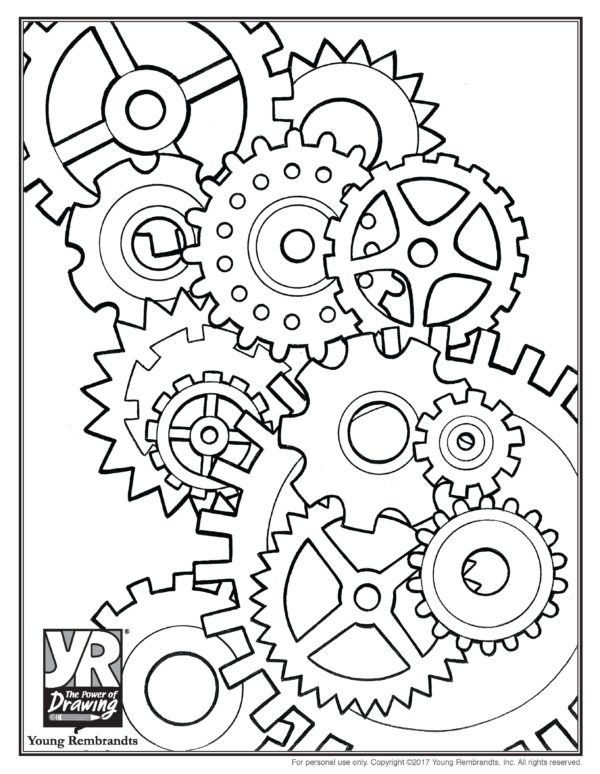 Gears Coloring Page - Young Rembrandts Shop