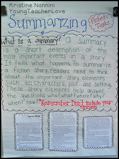 Summarizing Fiction Texts Simplified! - Young Teacher Love