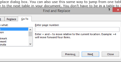 Quickly move from one table to another in Word 2013