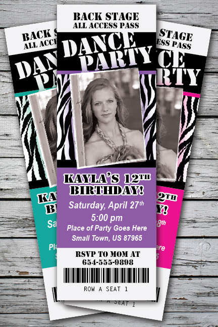 Dance Party Birthday Ticket Style Invitation - DIGITAL FILE - You