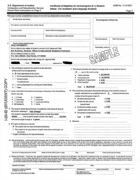Form I-20 Sample It\u0027s Your Yale - sample form