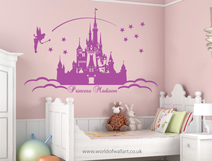 Large Personalised Princess Castle Wall Stickers