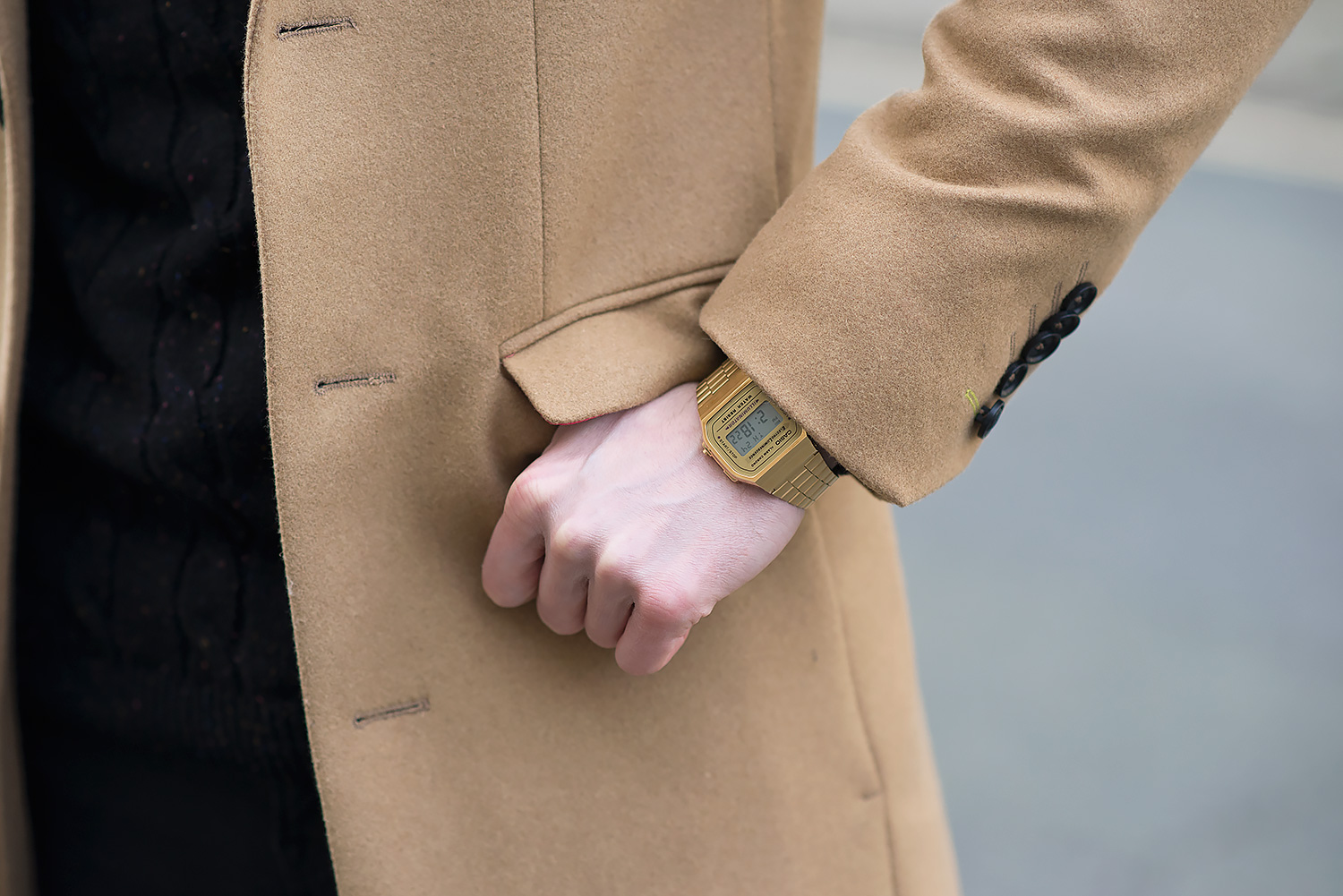Noose Monkey Camel Overcoat And Black Ripped Skinny