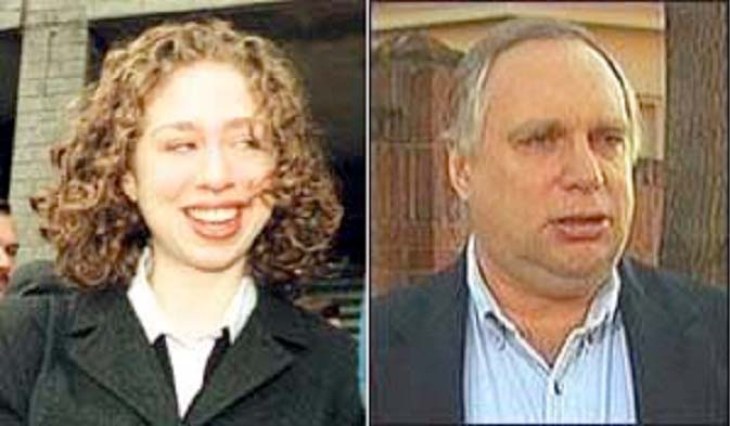 Image of Chelsea Clinton and Web Hubbell, who some claim is her real father