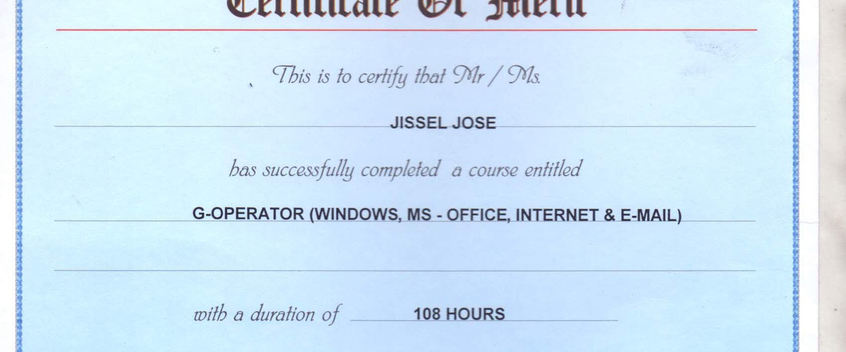 Bucketlist » Study ms office and get certificate (jissel jose)