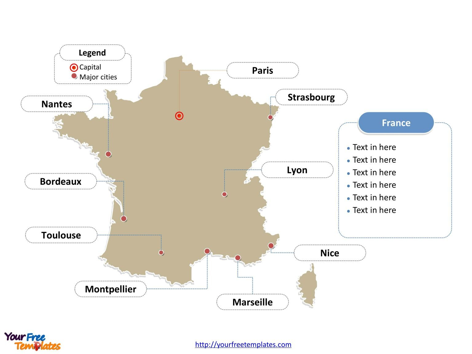 map of france with major cities