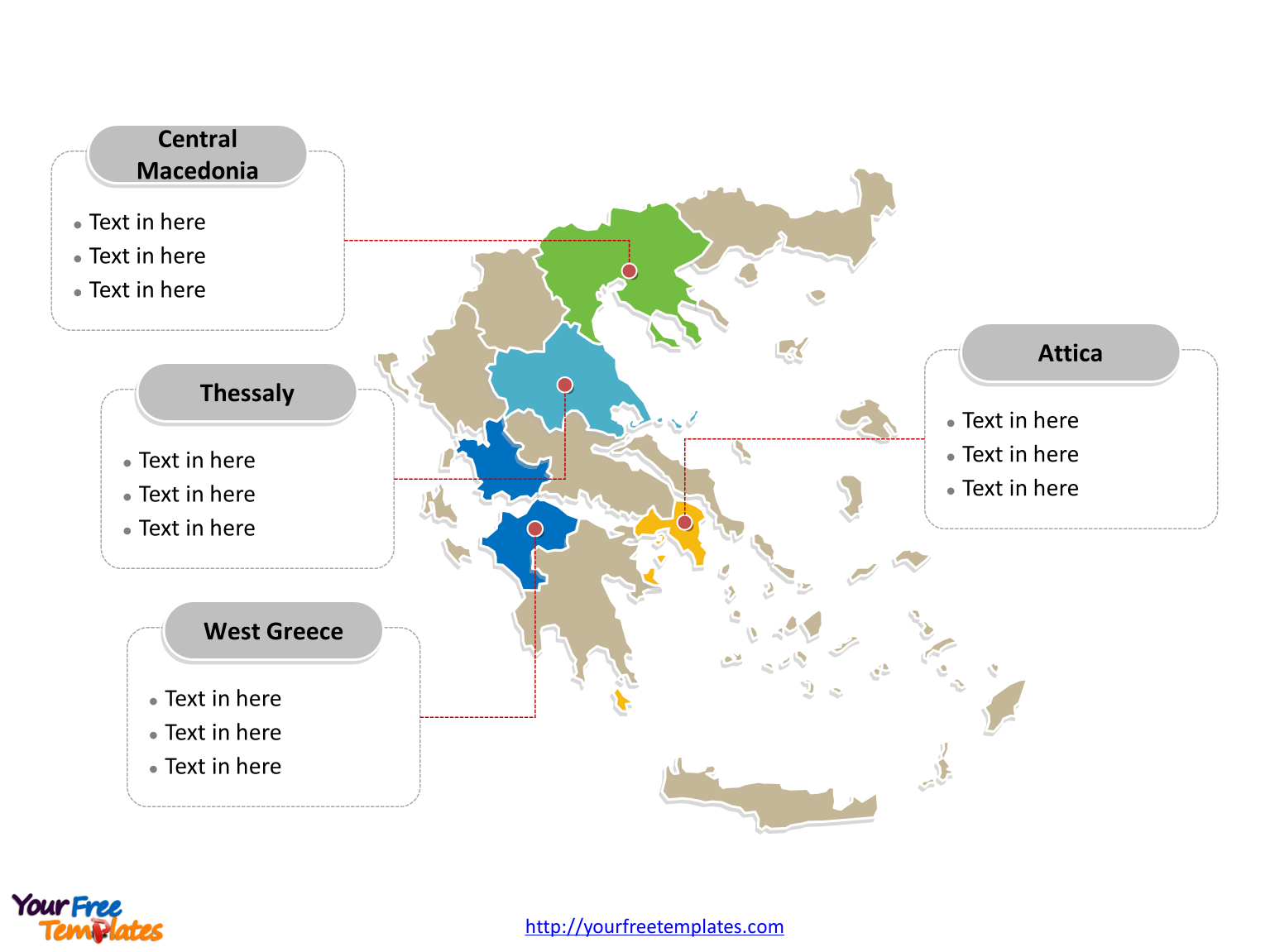 Free Greece Editable Map Free Powerpoint Templates