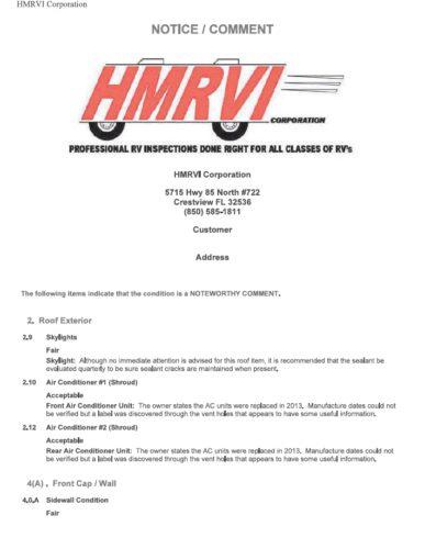 RV Sample Report Summary -