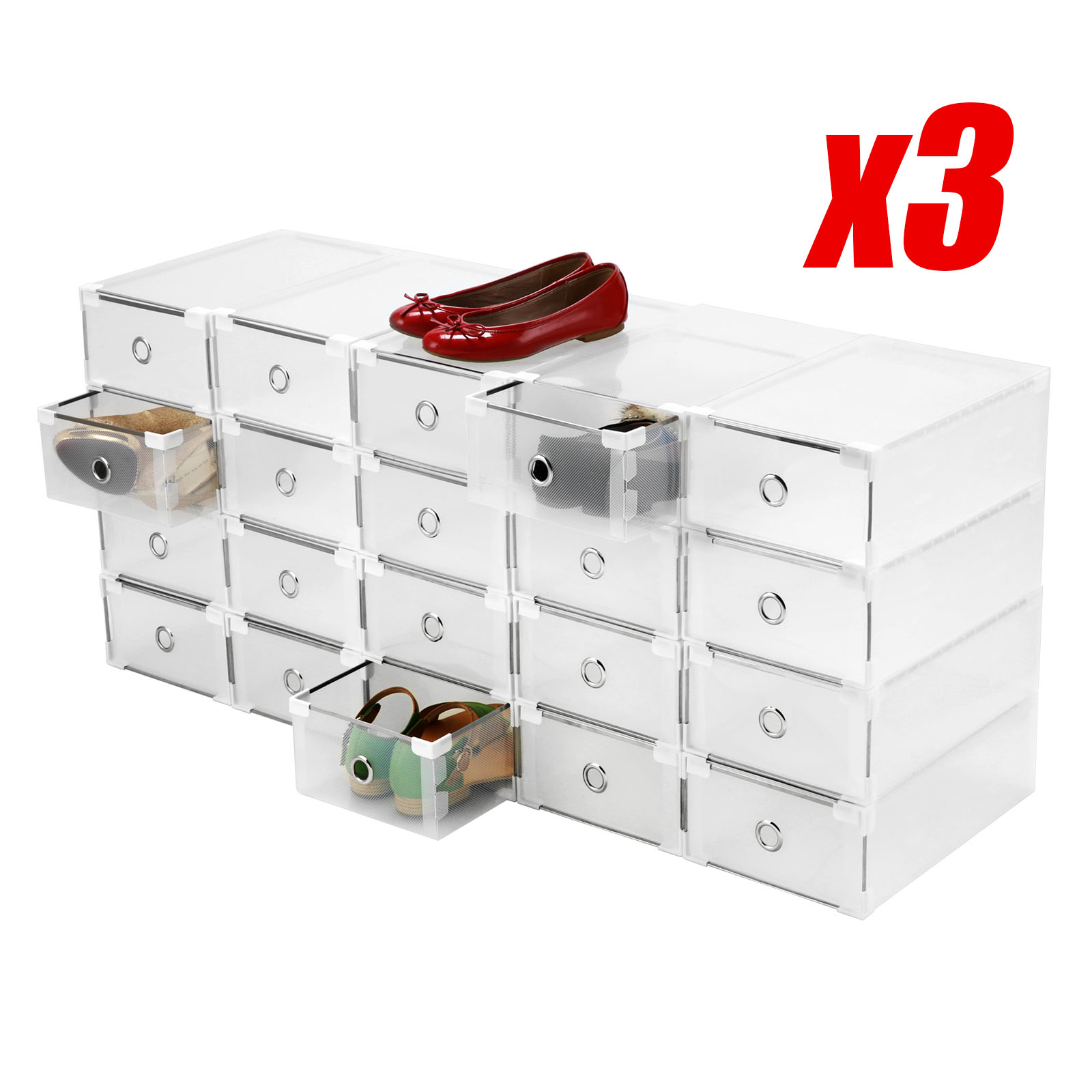 Shoe Box Australia Clear 60x Shoe Storage Box Plastic Drawer Cabinet Home