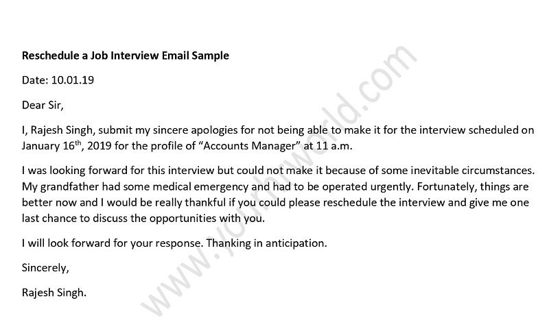 Sample Reschedule Job Interview Email Template Your HR World