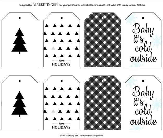 Modern Holiday Gift Tags  Free Printable - yourmarketingbff