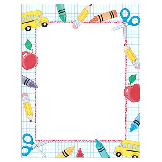 School Stuff Border Paper - Your Paper Stop
