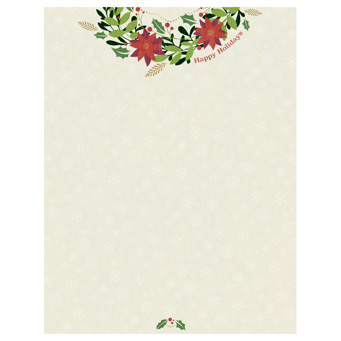 Happy Holidays Christmas Wreath Holiday Paper - Your Paper Stop