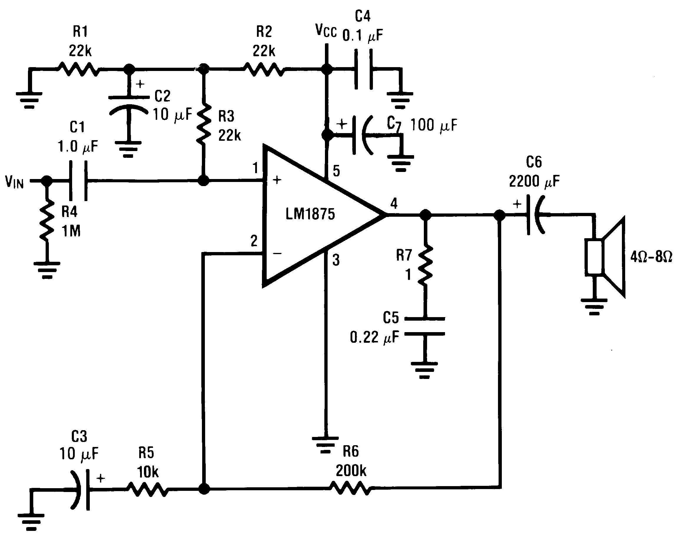 circuit diagram lm1875 amp 20w