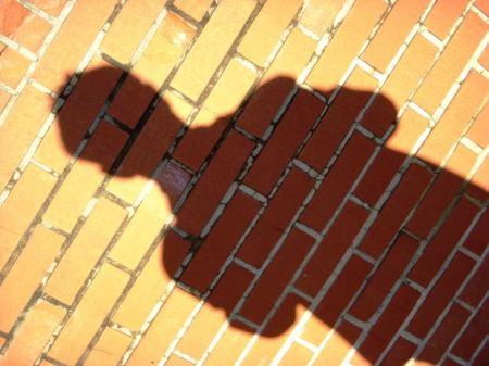 Man shadow on brick wall