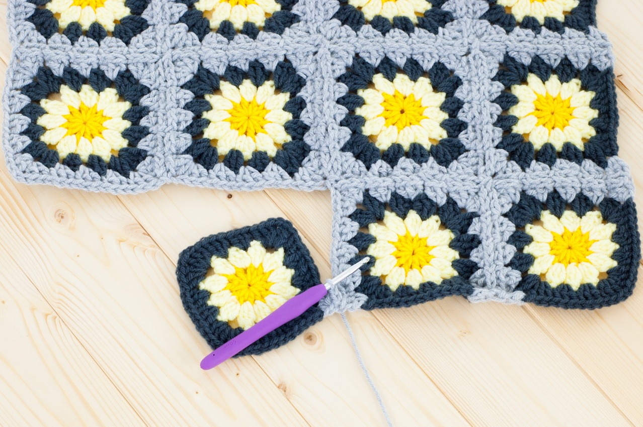 Begin The Final Row By Crocheting Around Two Sides Of The First Square  (just Like