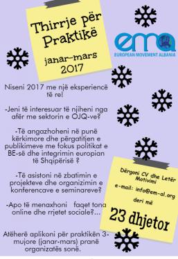 Poster- Thirrja per praktike janar-mars 2017