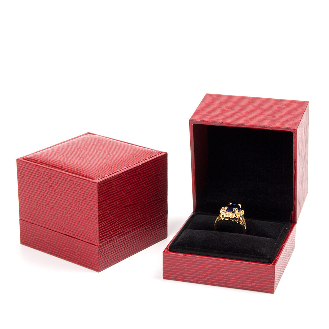 Wholesale Jewelry Packaging Wholesale Red Leatherette Paper Covered Ring Packaging Box