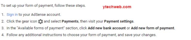 Setting up your form of payment   AdSense Help