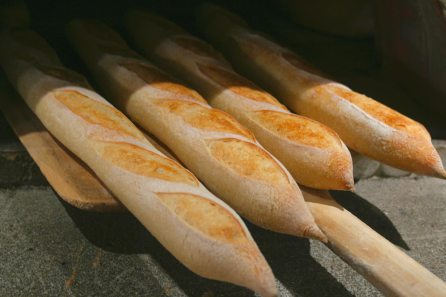 Checking baguettes for doneness