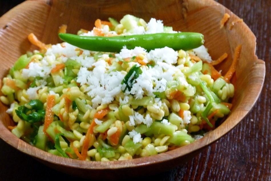 Crunchy Hulled Mung Bean Salad | Kosambari
