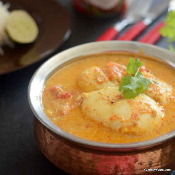 EGG DROP CURRY | EGGS POACHED IN CURRIED COCONUT MILK