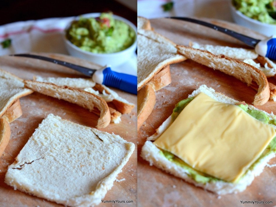 Guacamole Cheese Sandwich Roll Ups