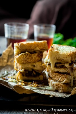 French Onion Grilled cheese Sandwiches, When you can't decide for soup or sandwiches for lunch!