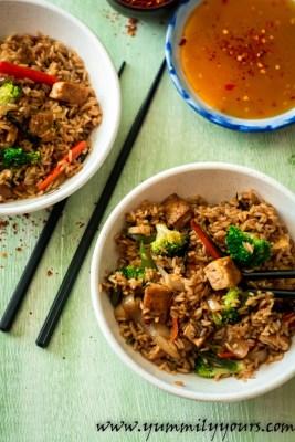 Thai Fried Rice, Vegan with crispy tofu