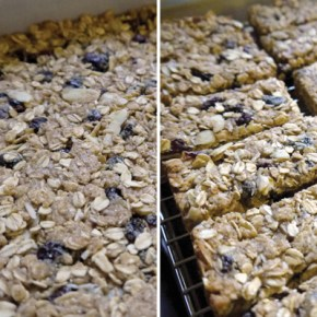 Quinoa breakfast bars out of the oven, cool a little before cutting.