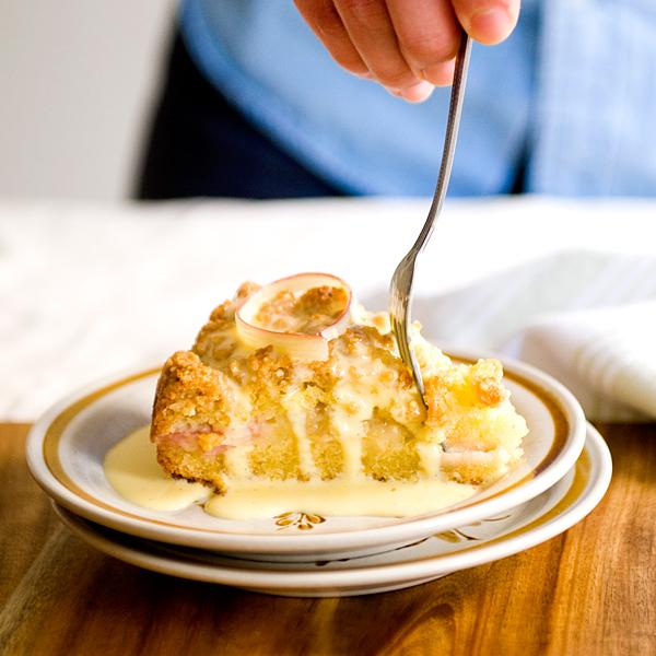 Rhubarb Coffee Cake with Crème Anglaise