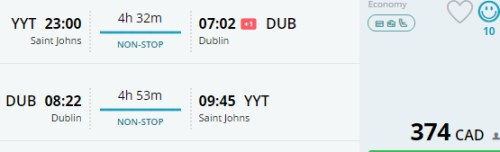 Image For Flights Newfoundland To Dublin