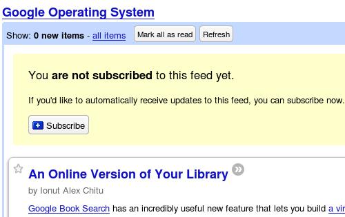 Google Reader Subscribe notice