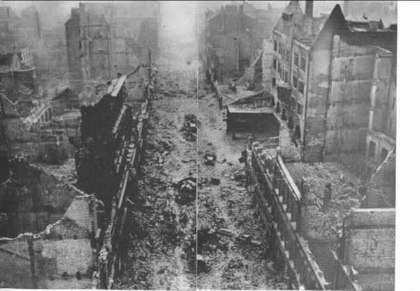 The heart of the firestorm area; a picture taken by the Germans soon after the attack. The buried vehicles are gutted firetrucks that had to be abandoned because of the heat.