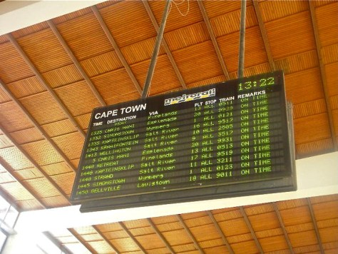 Timetable at Capetown Train Station in South Africa via ZaagiTravel.com