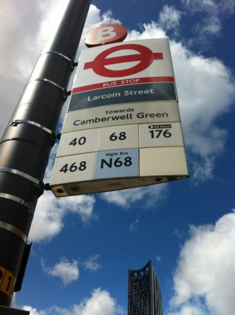 Larcom bus stop in London, England via ZaagiTravel.com