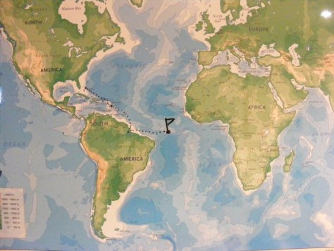 A world map from the MV Explorer Cruise Ship from Semester at Sea Study Abroad via ZaagiTravel.com
