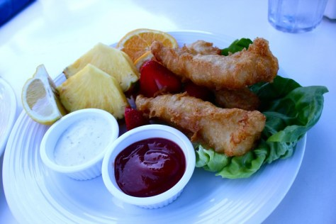 Fish and Chips, well fruit, at the Cliff Restaurant in Laguna Beach, California via ZaagiTravel.com
