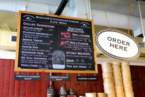 Menu at Beecher's Handmade Cheese outside Pike Place Market in Seattle, Washington, United States via ZaagiTravel.com
