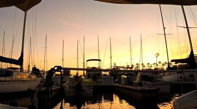 Sailing at Sunset in Long Beach, California