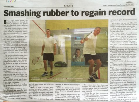 James and Brett Meyer's Guinness World Record attempt in the Howick and Pakuranga Times newspaper via ZaagiTravel.com