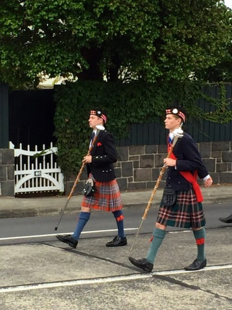 James as drum major in Howick parade wearing his uniform & kilt on Anzac Day morning via ZaagiTravel.com