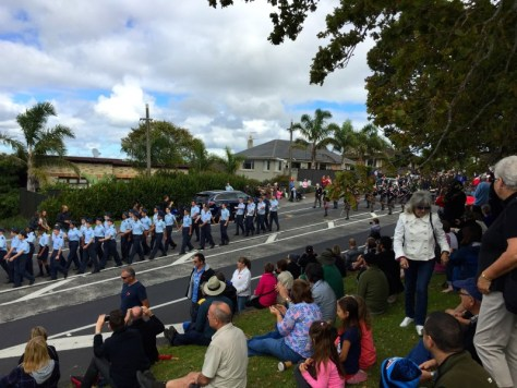 Old Collegian pipes and drum band in the Howick parade on Anzac Day morning via ZaagiTravel.com