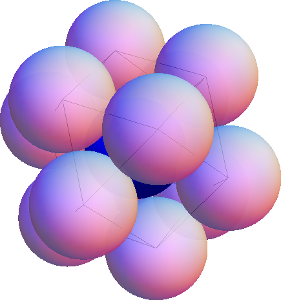 Twelve spheres all kissing a central (blue) sphere and arranged at the vertices of a cuboctahedron.