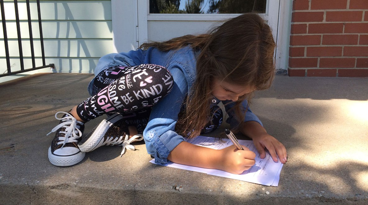 Milly-Homework-Outside